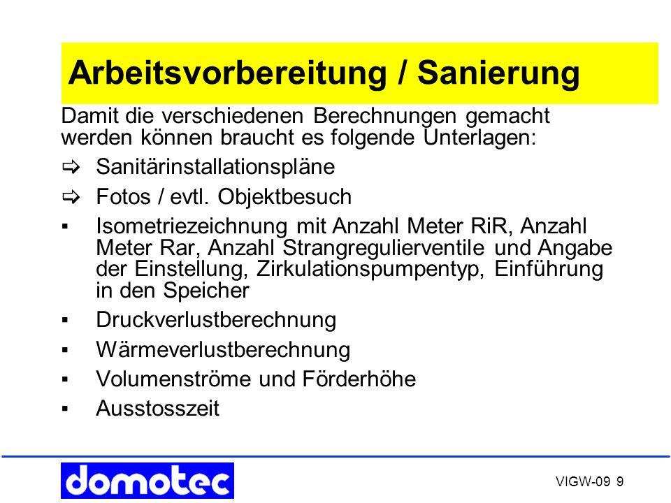 VIGW-09 9 Arbeitsvorbereitung / Sanierung Damit die verschiedenen Berechnungen gemacht werden können braucht es folgende Unterlagen:  Sanitärinstalla
