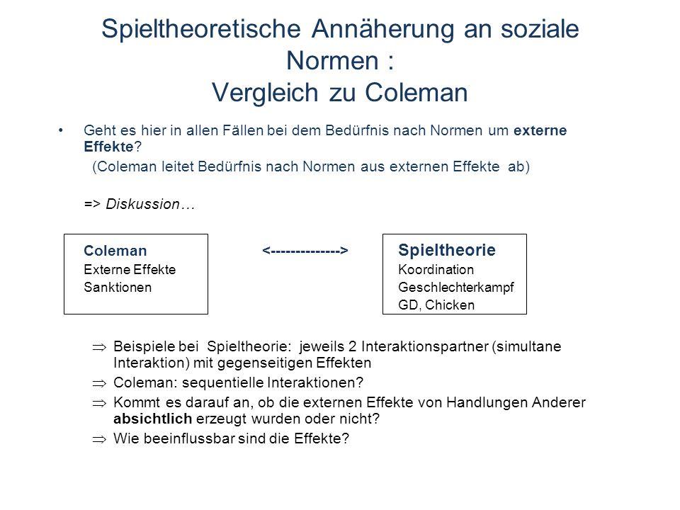 Spieltheoretische Annäherung an soziale Normen : Vergleich zu Coleman Geht es hier in allen Fällen bei dem Bedürfnis nach Normen um externe Effekte.