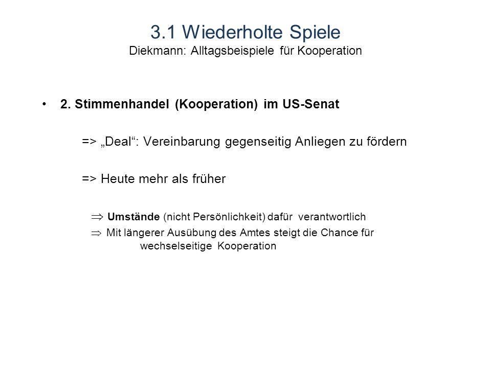 3.1 Wiederholte Spiele Diekmann: Alltagsbeispiele für Kooperation 2.