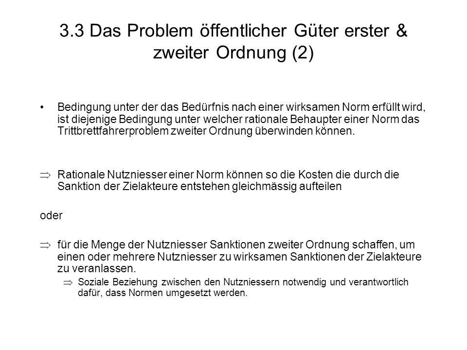 3.3 Das Problem öffentlicher Güter erster & zweiter Ordnung (2) Bedingung unter der das Bedürfnis nach einer wirksamen Norm erfüllt wird, ist diejenige Bedingung unter welcher rationale Behaupter einer Norm das Trittbrettfahrerproblem zweiter Ordnung überwinden können.