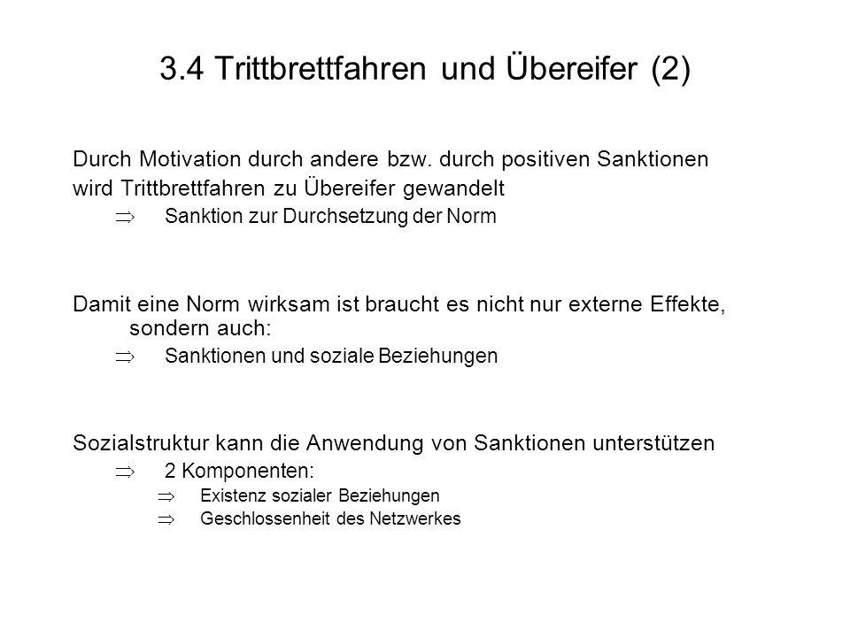 3.4 Trittbrettfahren und Übereifer (2) Durch Motivation durch andere bzw.