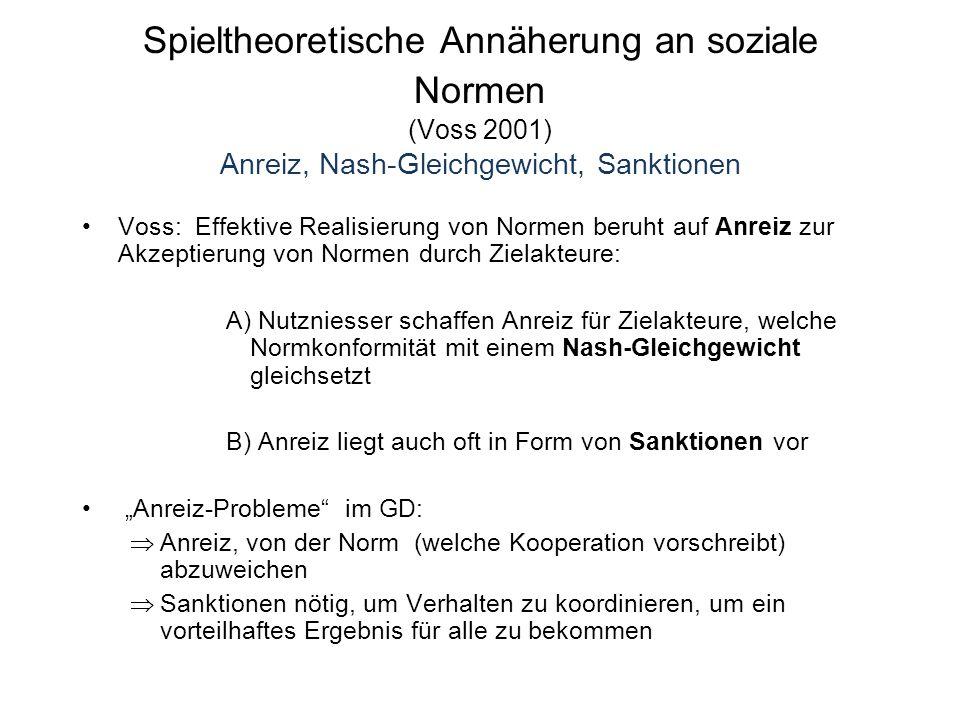 """Spieltheoretische Annäherung an soziale Normen (Voss 2001) Anreiz, Nash-Gleichgewicht, Sanktionen Voss: Effektive Realisierung von Normen beruht auf Anreiz zur Akzeptierung von Normen durch Zielakteure: A) Nutzniesser schaffen Anreiz für Zielakteure, welche Normkonformität mit einem Nash-Gleichgewicht gleichsetzt B) Anreiz liegt auch oft in Form von Sanktionen vor """"Anreiz-Probleme im GD:  Anreiz, von der Norm (welche Kooperation vorschreibt) abzuweichen  Sanktionen nötig, um Verhalten zu koordinieren, um ein vorteilhaftes Ergebnis für alle zu bekommen"""