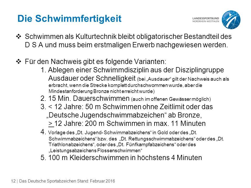 12 | Das Deutsche Sportabzeichen Stand: Februar 2016 Die Schwimmfertigkeit  Schwimmen als Kulturtechnik bleibt obligatorischer Bestandteil des D S A