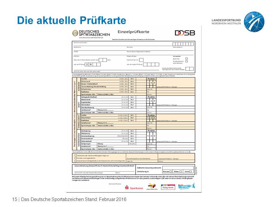15 | Das Deutsche Sportabzeichen Stand: Februar 2016 Die aktuelle Prüfkarte