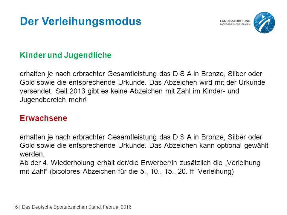 16 | Das Deutsche Sportabzeichen Stand: Februar 2016 Der Verleihungsmodus Kinder und Jugendliche erhalten je nach erbrachter Gesamtleistung das D S A