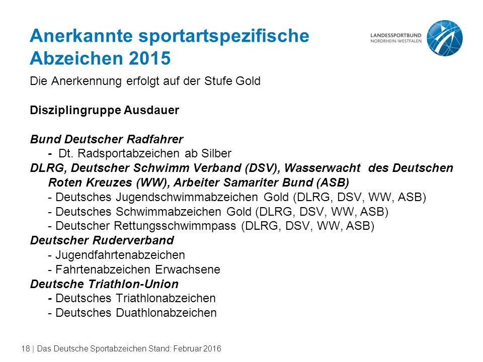 18 | Das Deutsche Sportabzeichen Stand: Februar 2016 Anerkannte sportartspezifische Abzeichen 2015 Die Anerkennung erfolgt auf der Stufe Gold Diszipli
