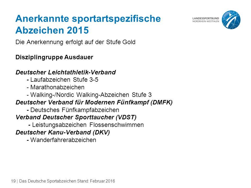 19 | Das Deutsche Sportabzeichen Stand: Februar 2016 Anerkannte sportartspezifische Abzeichen 2015 Die Anerkennung erfolgt auf der Stufe Gold Diszipli