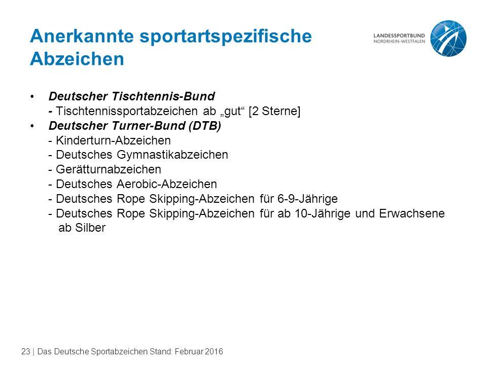 23 | Das Deutsche Sportabzeichen Stand: Februar 2016 Anerkannte sportartspezifische Abzeichen Deutscher Tischtennis-Bund - Tischtennissportabzeichen a