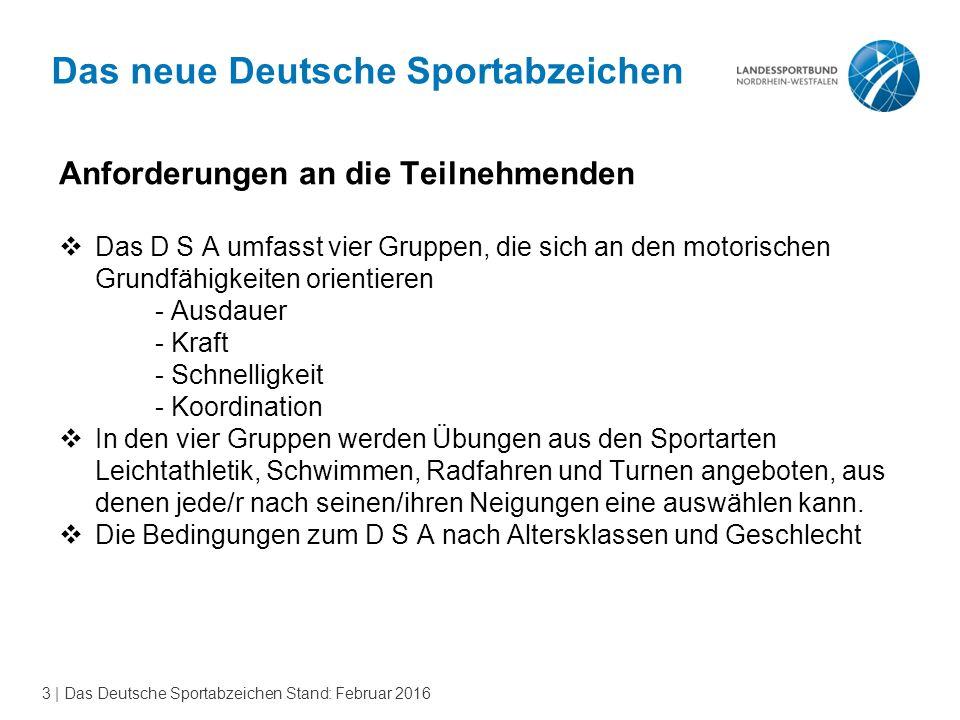3 | Das Deutsche Sportabzeichen Stand: Februar 2016 Das neue Deutsche Sportabzeichen Anforderungen an die Teilnehmenden  Das D S A umfasst vier Grupp