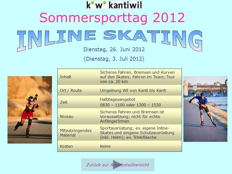 Sommersporttag 2012 Inhalt Sicheres Fahren, Bremsen und Kurven auf den Skates; Fahren im Team; Tour von ca. 20 km Ort / RouteUmgebung Wil von Kanti bi