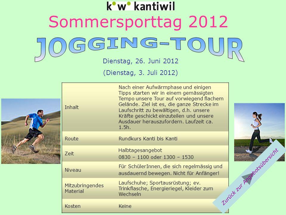 Sommersporttag 2012 Inhalt Nach einer Aufwärmphase und einigen Tipps starten wir in einem gemässigten Tempo unsere Tour auf vorwiegend flachem Gelände