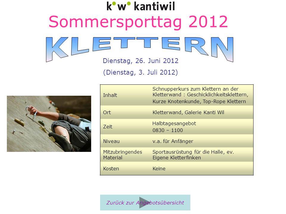 Sommersporttag 2012 Inhalt Schnupperkurs zum Klettern an der Kletterwand : Geschicklichkeitsklettern, Kurze Knotenkunde, Top-Rope Klettern OrtKletterw