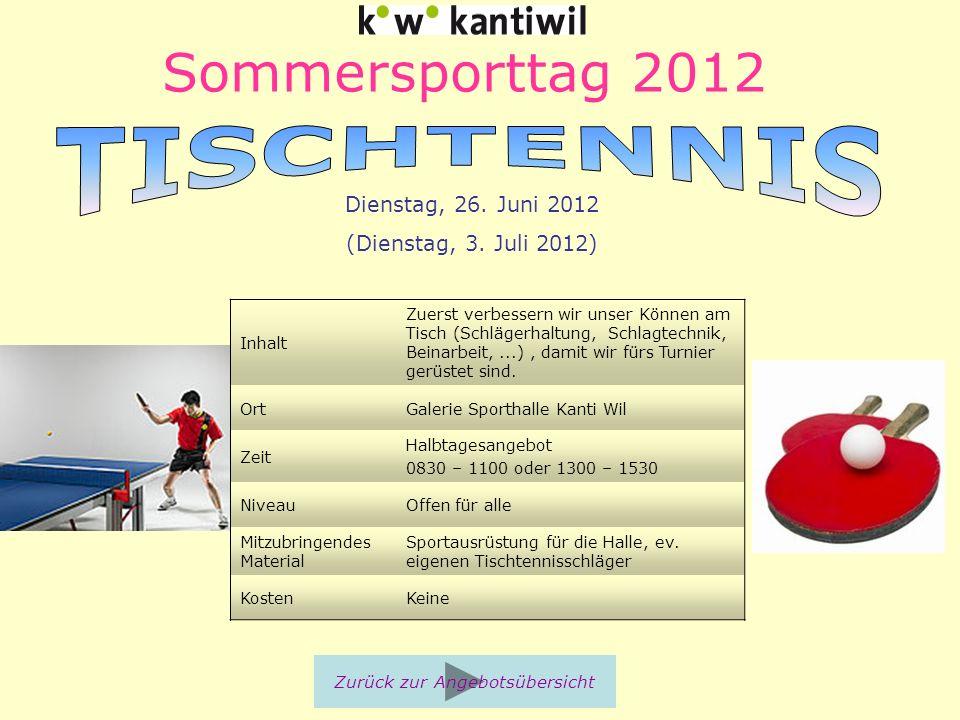 Sommersporttag 2012 Inhalt Zuerst verbessern wir unser Können am Tisch (Schlägerhaltung, Schlagtechnik, Beinarbeit,...), damit wir fürs Turnier gerüst