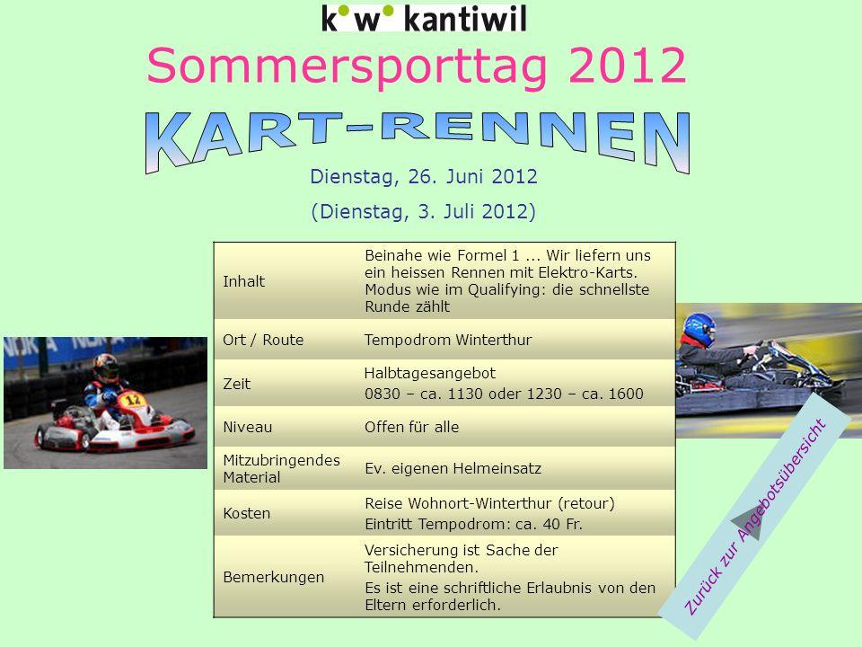 Sommersporttag 2012 Inhalt Beinahe wie Formel 1... Wir liefern uns ein heissen Rennen mit Elektro-Karts. Modus wie im Qualifying: die schnellste Runde