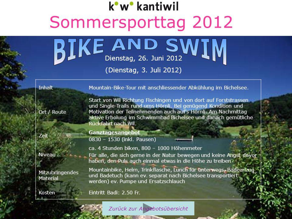 Sommersporttag 2012 InhaltMountain-Bike-Tour mit anschliessender Abkühlung im Bichelsee. Ort / Route Start von Wil Richtung Fischingen und von dort au