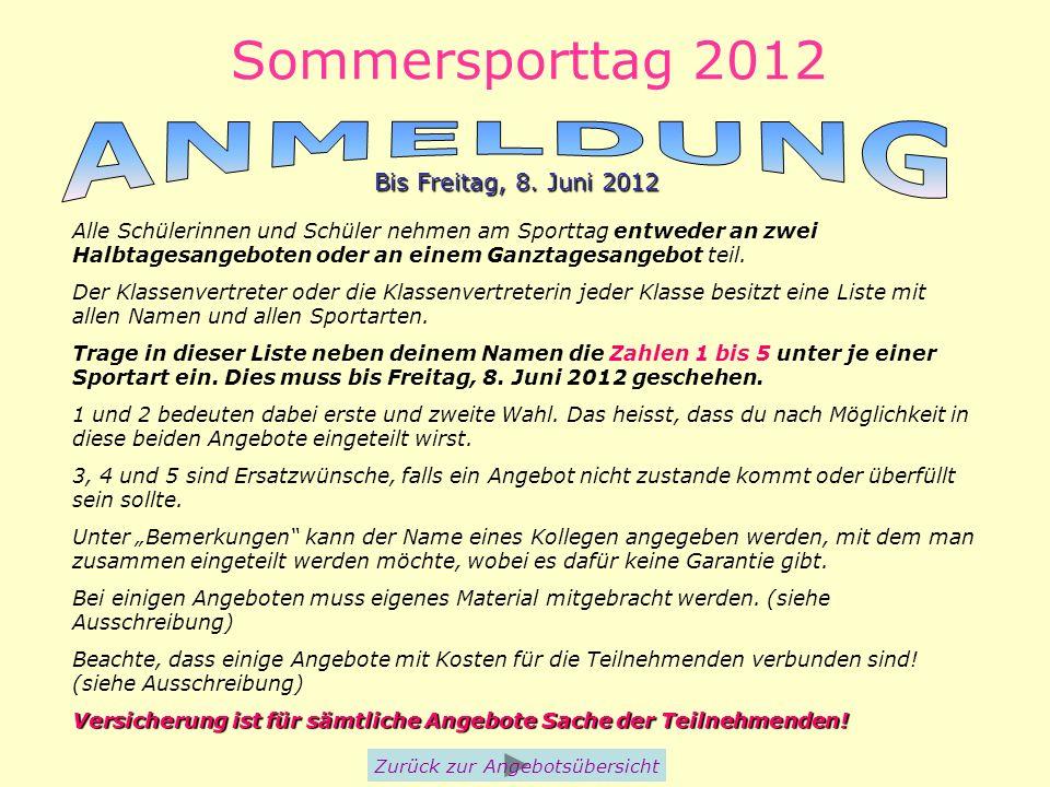 Sommersporttag 2012 Zurück zur Angebotsübersicht Bis Freitag, 8. Juni 2012 Alle Schülerinnen und Schüler nehmen am Sporttag entweder an zwei Halbtages