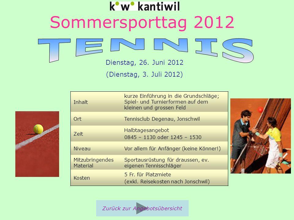 Sommersporttag 2012 Inhalt kurze Einführung in die Grundschläge; Spiel- und Turnierformen auf dem kleinen und grossen Feld OrtTennisclub Degenau, Jons