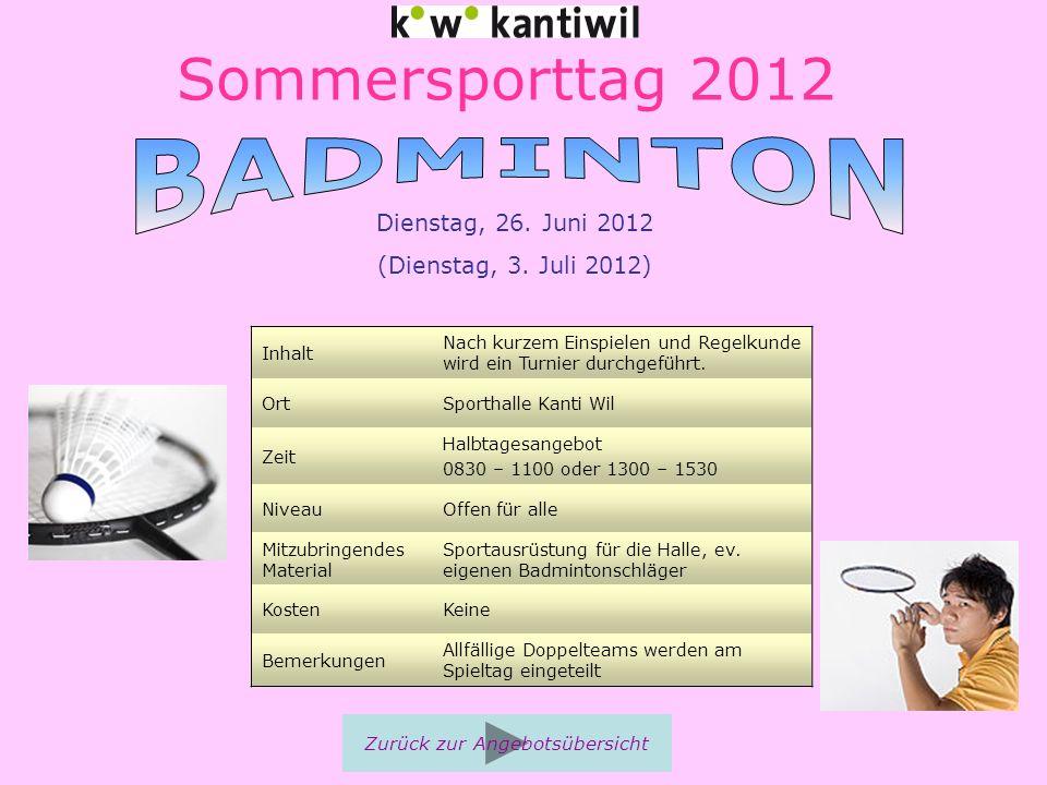 Sommersporttag 2012 Inhalt Nach kurzem Einspielen und Regelkunde wird ein Turnier durchgeführt. OrtSporthalle Kanti Wil Zeit Halbtagesangebot 0830 – 1