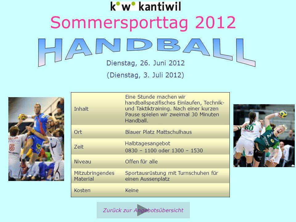 Sommersporttag 2012 Inhalt Eine Stunde machen wir handballspezifisches Einlaufen, Technik- und Taktiktraining. Nach einer kurzen Pause spielen wir zwe