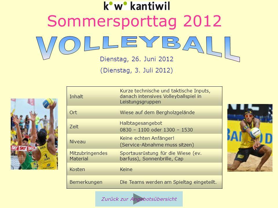 Sommersporttag 2012 Inhalt Kurze technische und taktische Inputs, danach intensives Volleyballspiel in Leistungsgruppen OrtWiese auf dem Bergholzgelän