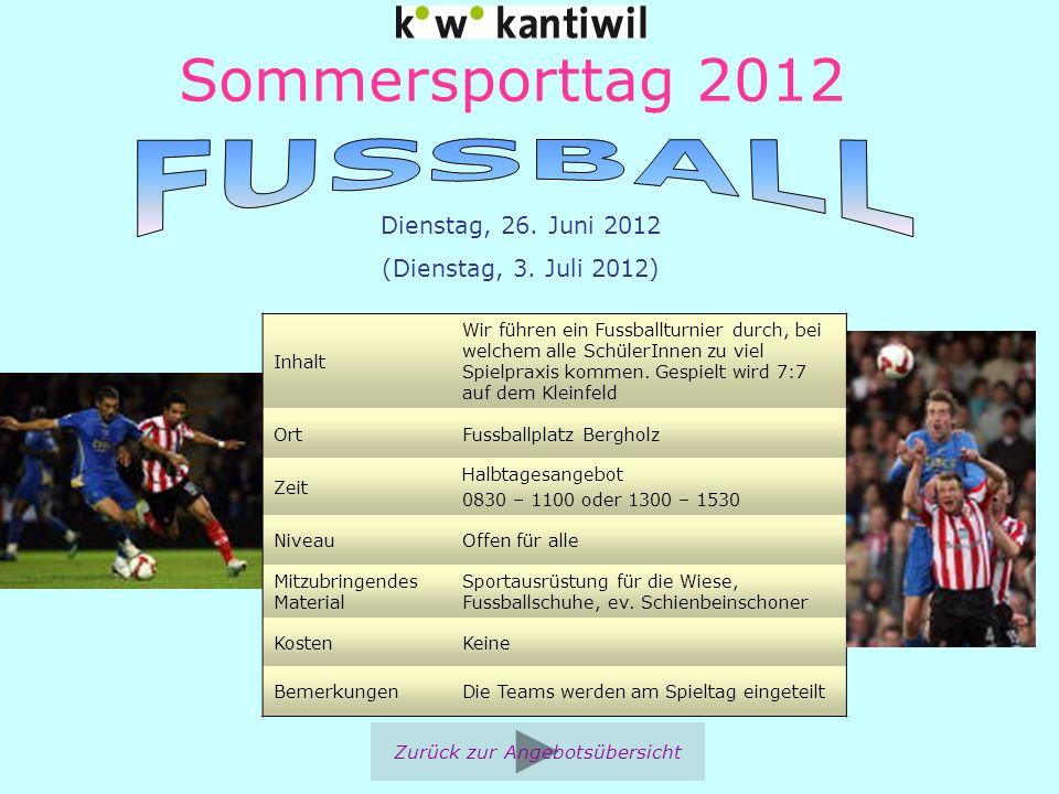 Sommersporttag 2012 Inhalt Wir führen ein Fussballturnier durch, bei welchem alle SchülerInnen zu viel Spielpraxis kommen. Gespielt wird 7:7 auf dem K