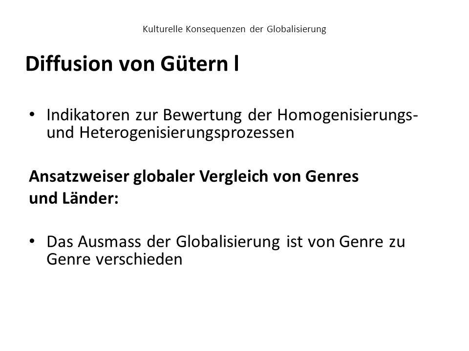 Kulturelle Konsequenzen der Globalisierung Indikatoren zur Bewertung der Homogenisierungs- und Heterogenisierungsprozessen Ansatzweiser globaler Vergl