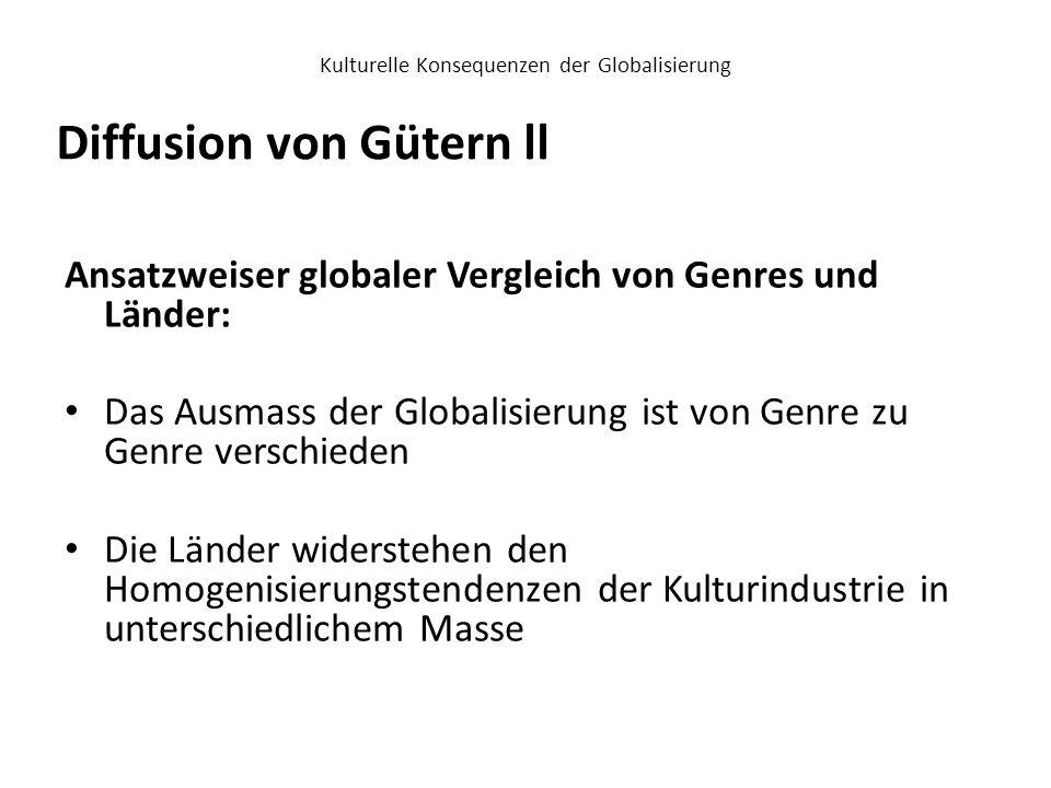 Kulturelle Konsequenzen der Globalisierung Ansatzweiser globaler Vergleich von Genres und Länder: Das Ausmass der Globalisierung ist von Genre zu Genr