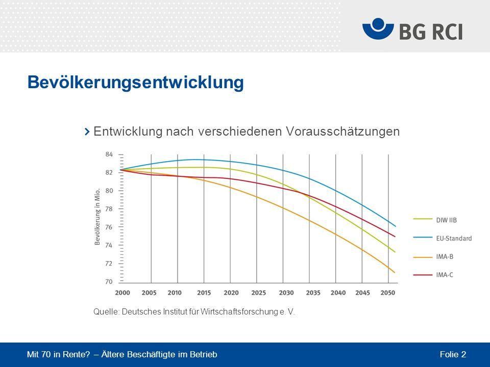 Mit 70 in Rente? – Ältere Beschäftigte im Betrieb Folie 2 Bevölkerungsentwicklung Entwicklung nach verschiedenen Vorausschätzungen Quelle: Deutsches I