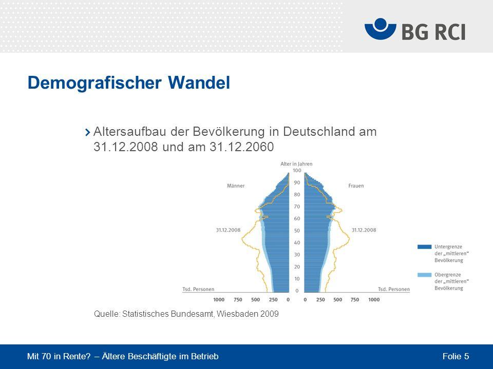 Mit 70 in Rente? – Ältere Beschäftigte im Betrieb Folie 5 Demografischer Wandel Altersaufbau der Bevölkerung in Deutschland am 31.12.2008 und am 31.12