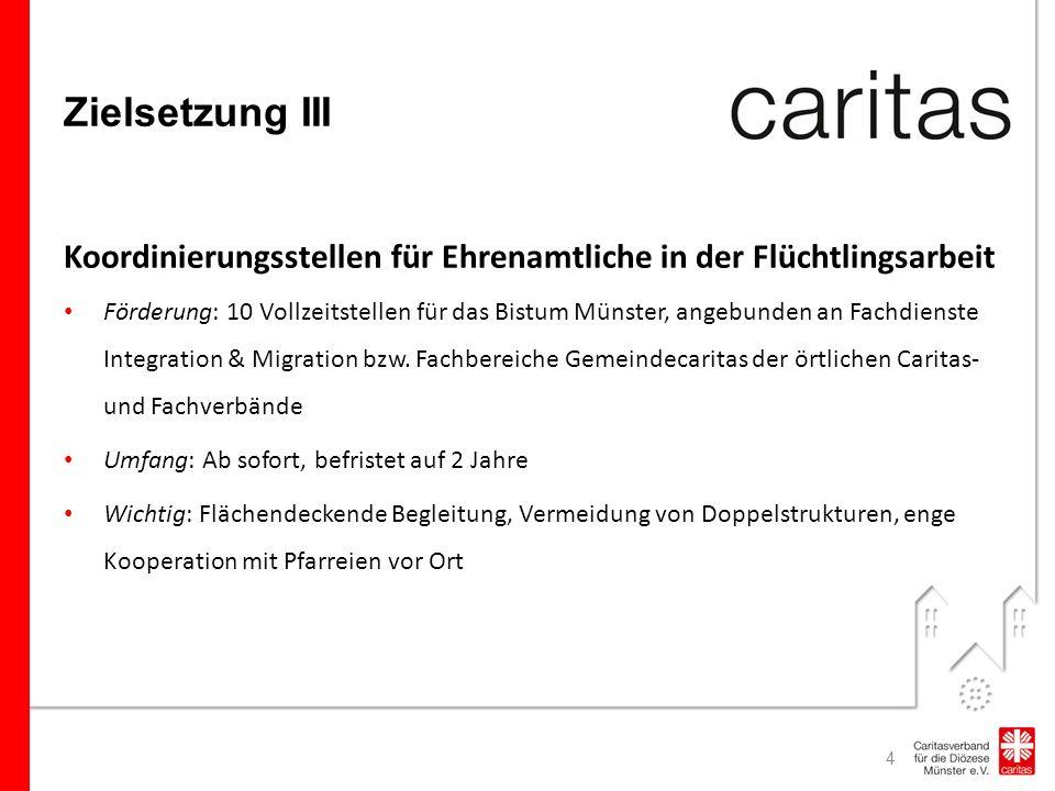 Zielsetzung III Koordinierungsstellen für Ehrenamtliche in der Flüchtlingsarbeit Förderung: 10 Vollzeitstellen für das Bistum Münster, angebunden an Fachdienste Integration & Migration bzw.