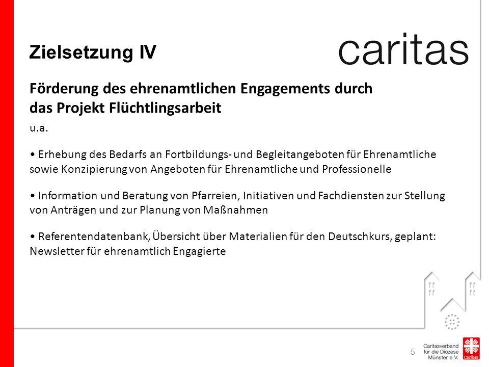 Zielsetzung IV Förderung des ehrenamtlichen Engagements durch das Projekt Flüchtlingsarbeit u.a.