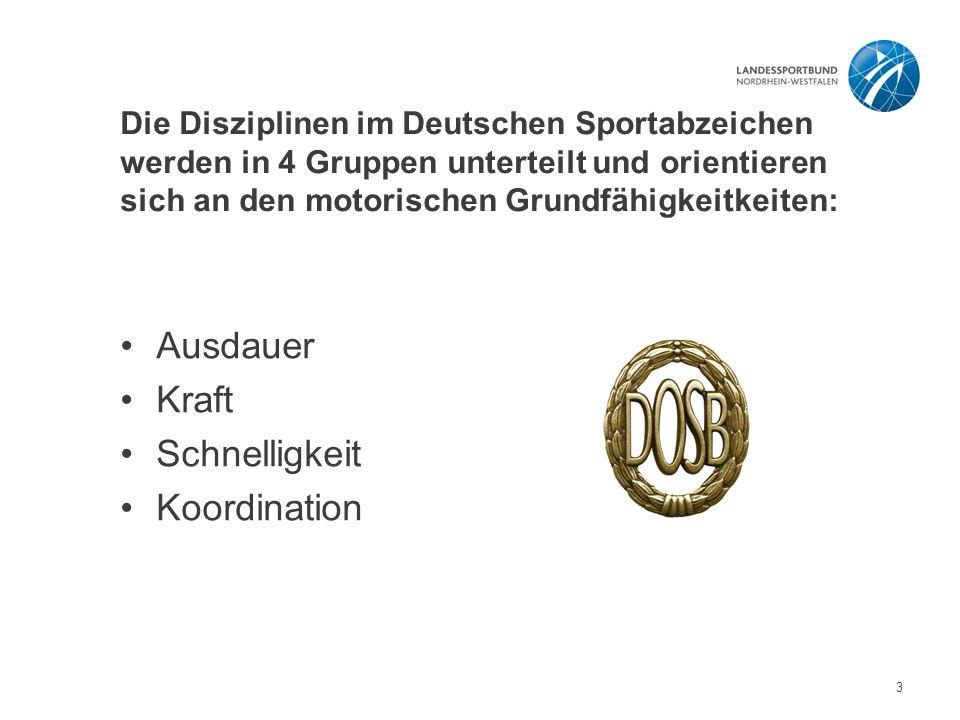 Die Disziplinen im Deutschen Sportabzeichen werden in 4 Gruppen unterteilt und orientieren sich an den motorischen Grundfähigkeitkeiten: Ausdauer Kraft Schnelligkeit Koordination 3