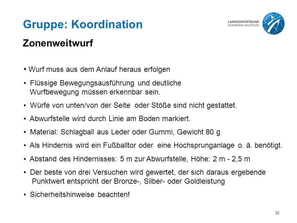 Gruppe: Koordination Zonenweitwurf Wurf muss aus dem Anlauf heraus erfolgen Flüssige Bewegungsausführung und deutliche Wurfbewegung müssen erkennbar sein.