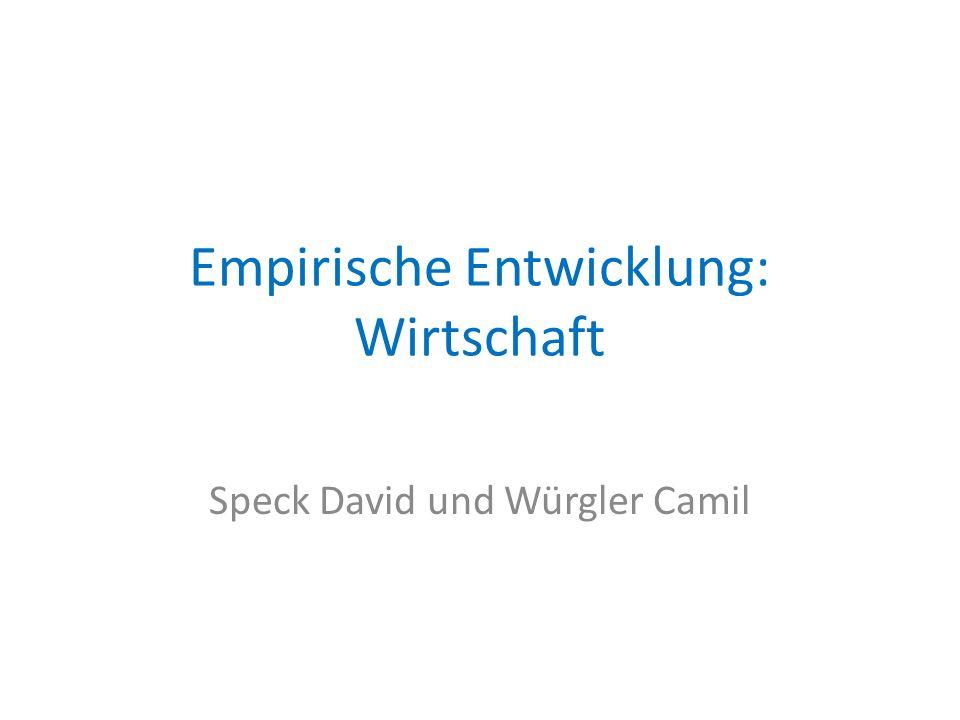 Empirische Entwicklung: Wirtschaft Speck David und Würgler Camil