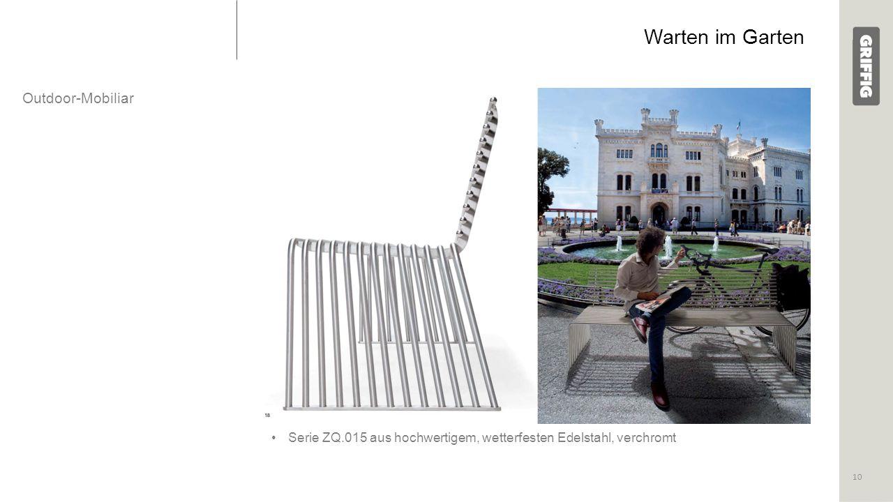 Warten im Garten Outdoor-Mobiliar Serie ZQ.015 aus hochwertigem, wetterfesten Edelstahl, verchromt 10