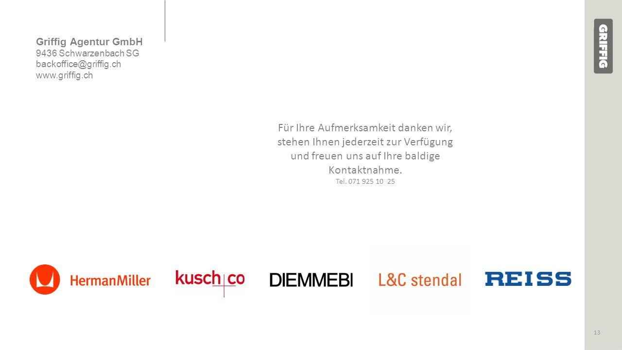 Griffig Agentur GmbH 9436 Schwarzenbach SG backoffice@griffig.ch www.griffig.ch Für Ihre Aufmerksamkeit danken wir, stehen Ihnen jederzeit zur Verfügung und freuen uns auf Ihre baldige Kontaktnahme.