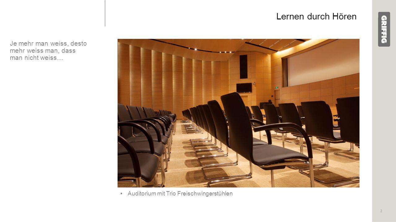 Lernen durch Hören Je mehr man weiss, desto mehr weiss man, dass man nicht weiss… Auditorium mit Trio Freischwingerstühlen 2