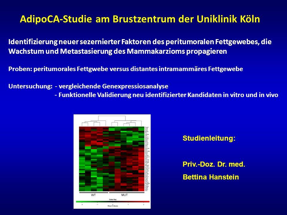 AdipoCA-Studie am Brustzentrum der Uniklinik Köln Identifizierung neuer sezernierter Faktoren des peritumoralen Fettgewebes, die Wachstum und Metastas