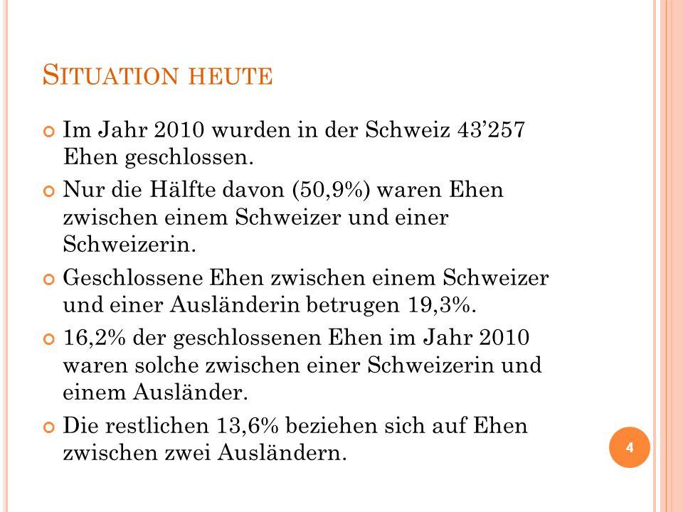S ITUATION HEUTE Im Jahr 2010 wurden in der Schweiz 43'257 Ehen geschlossen. Nur die Hälfte davon (50,9%) waren Ehen zwischen einem Schweizer und eine