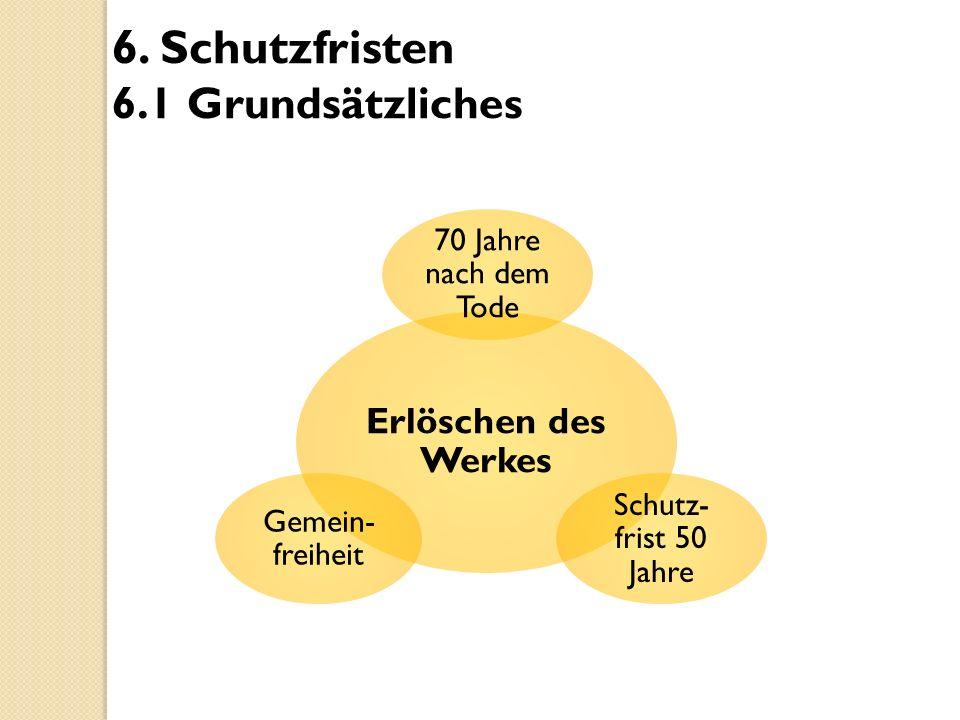 6. Schutzfristen 6.1 Grundsätzliches Erlöschen des Werkes 70 Jahre nach dem Tode Schutz- frist 50 Jahre Gemein- freiheit