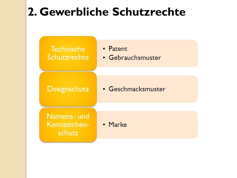 2. Gewerbliche Schutzrechte Patent Gebrauchsmuster Technische Schutzrechte Geschmacksmuster Designschutz Marke Namens- und Kennzeichen- schutz