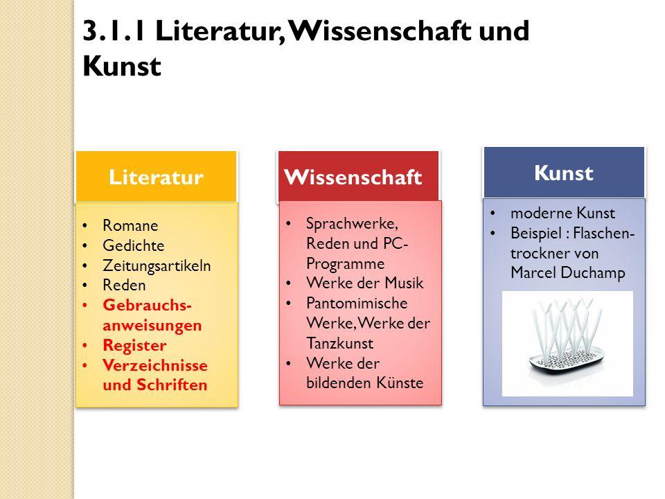 3.1.1 Literatur, Wissenschaft und Kunst Literatur Wissenschaft Kunst Romane Gedichte Zeitungsartikeln Reden Gebrauchs- anweisungen Register Verzeichni