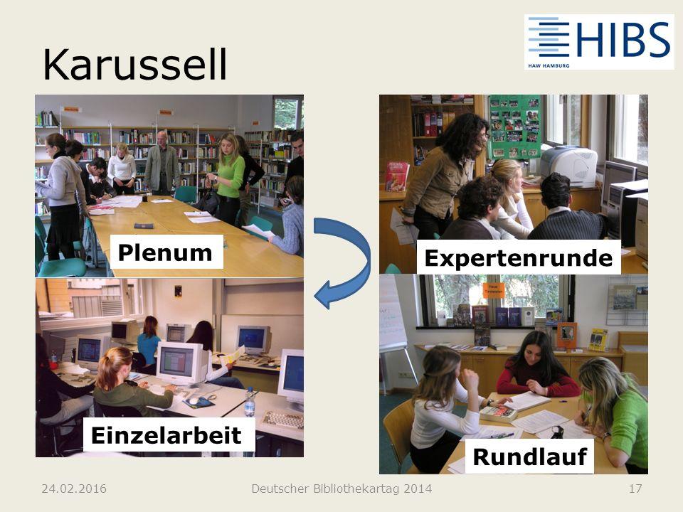 Karussell 24.02.2016Deutscher Bibliothekartag 201417 Plenum Expertenrunde Rundlauf Einzelarbeit