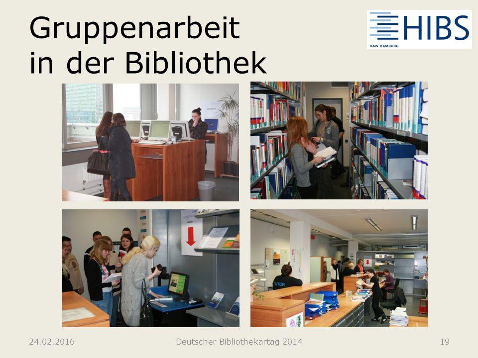 Gruppenarbeit in der Bibliothek 24.02.2016Deutscher Bibliothekartag 201419