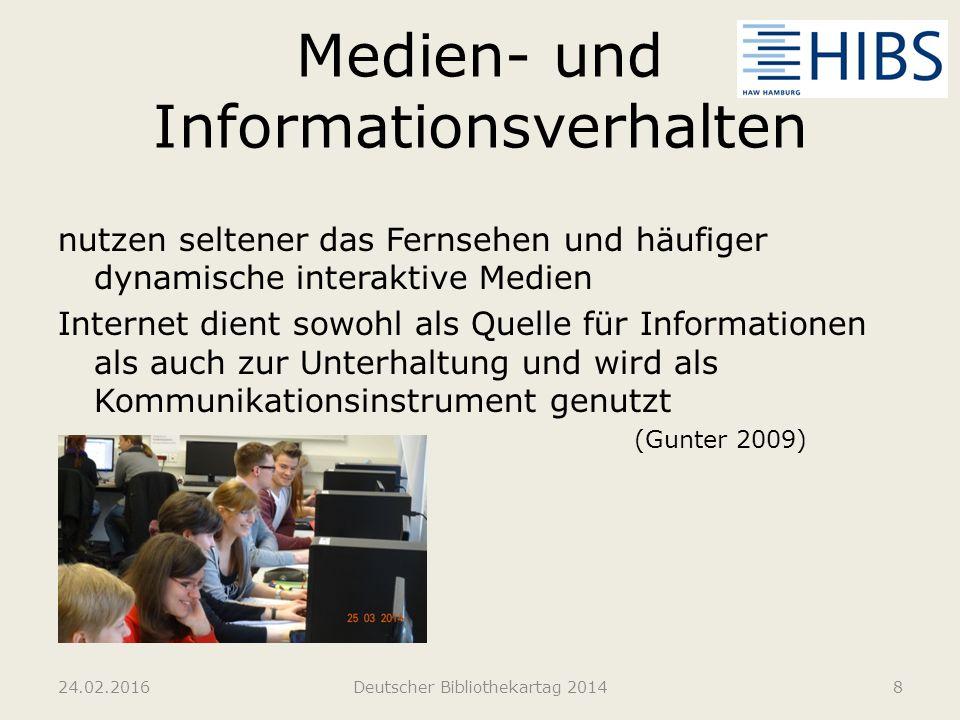 Medien- und Informationsverhalten nutzen seltener das Fernsehen und häufiger dynamische interaktive Medien Internet dient sowohl als Quelle für Inform