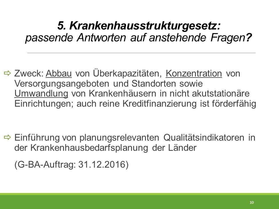 5. Krankenhausstrukturgesetz: passende Antworten auf anstehende Fragen?  Zweck: Abbau von Überkapazitäten, Konzentration von Versorgungsangeboten und
