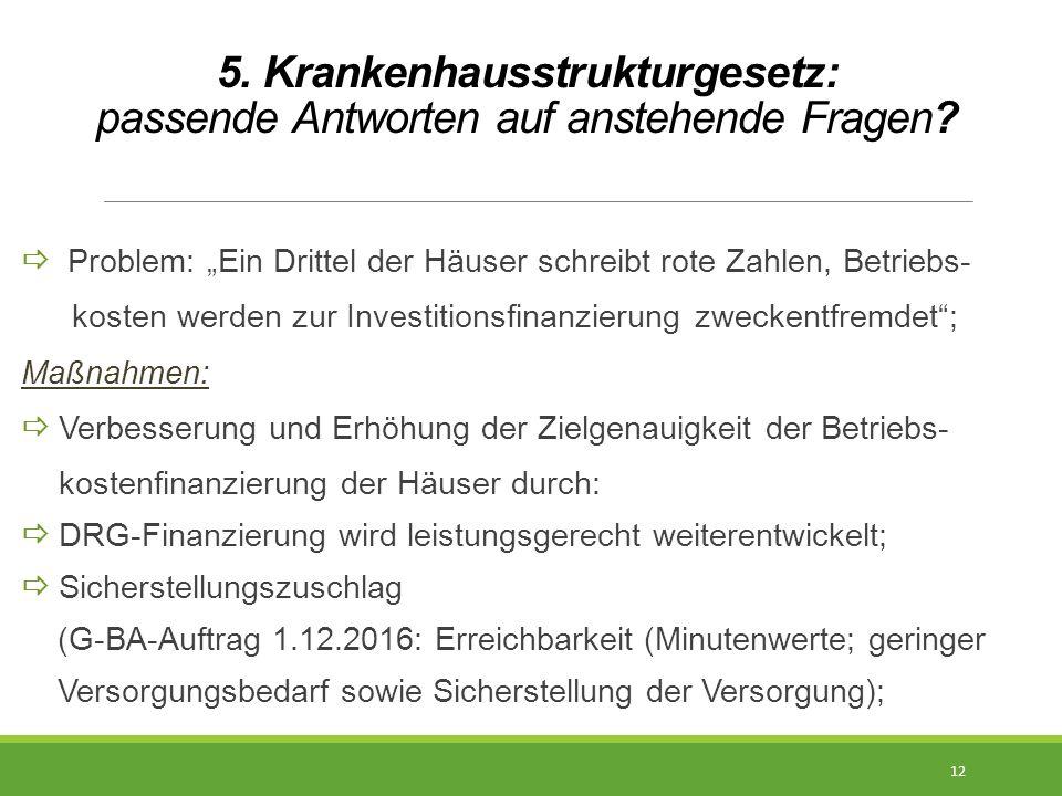 """5. Krankenhausstrukturgesetz: passende Antworten auf anstehende Fragen?  Problem: """"Ein Drittel der Häuser schreibt rote Zahlen, Betriebs- kosten werd"""
