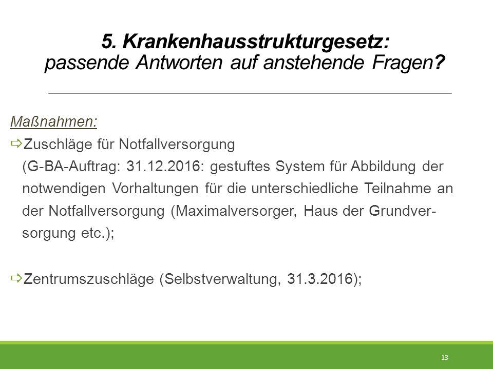 5. Krankenhausstrukturgesetz: passende Antworten auf anstehende Fragen? Maßnahmen:  Zuschläge für Notfallversorgung (G-BA-Auftrag: 31.12.2016: gestuf