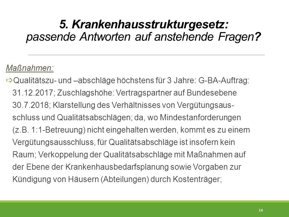 5. Krankenhausstrukturgesetz: passende Antworten auf anstehende Fragen? Maßnahmen:  Qualitätszu- und –abschläge höchstens für 3 Jahre: G-BA-Auftrag: