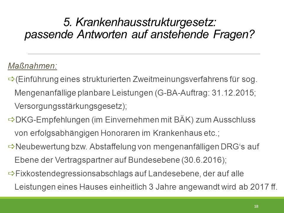 5. Krankenhausstrukturgesetz: passende Antworten auf anstehende Fragen? Maßnahmen:  (Einführung eines strukturierten Zweitmeinungsverfahrens für sog.